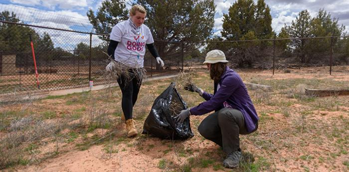 Two volunteers picking up brush outside at Best Friends Animal Sanctuary