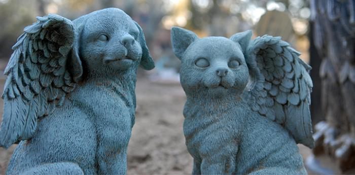 Angel pet statues at Angels Rest, an animal cemetery at Best Friends Animal Sanctuary
