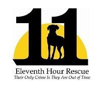 "The 11th Hour Animal Rescue (Rockaway, New Jersey) logo is ""11"" with a dog between the 1s in front of a yellow half circle"