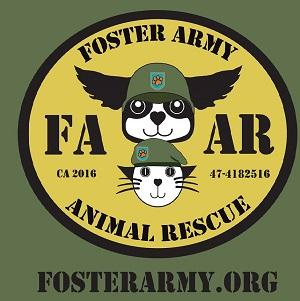 Foster Army Animal Rescue (Riverside, California) logo of FAAR with cat with beret and dog with helmet & wings