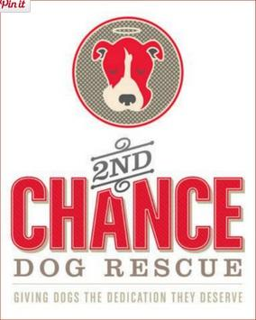 "2nd Chance Dog Rescue (Queen Creek, Arizona) logo with a pit-bull-type dog and the tag line ""Giving dogs the dedication they des"