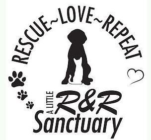 "A Little R&R Animal Sanctuary logo with dog, cat, and tagline ""Rescue Love Repeat"""
