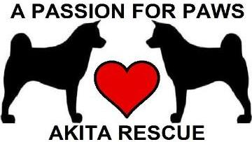 "A Passion for Paws Rescue logo with dogs, heart and tagline ""Akita Rescue"""