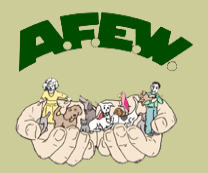 Animal Friends for Education & Welfare (Hightstown, New Jersey) logo with two hands holding people and animals