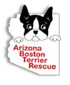 Arizona Boston Terrier Rescue (Scottsdale, Arizona) logo with the outline of the state of Arizona and a Boston terrier face