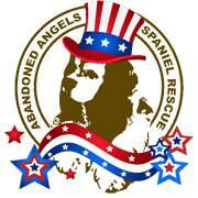 Abandoned Angels Cocker Spaniel Rescue logo with patriotic dog