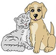 Ada Howe Kent Memorial Shelter logo with cat and dog