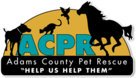 Adams County Pet Rescue logo with dog, cat, bird and horse