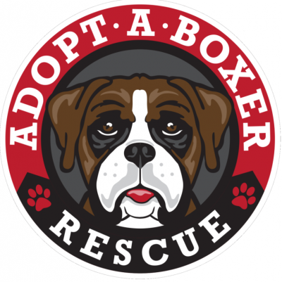 Adopt a Boxer Rescue (Olyphant, Pennsylvania) logo is brown and white boxer face in ring with red at top and black at bottom