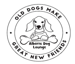 Albert's Dog Lounge Inc. (Whitewater, Wisconsin) logo with dog in a circle and old dogs make great new friends