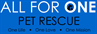 "All for One Pet Rescue blue logo with ""One Life One Love One Mission"" tagline"
