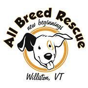 All Breed Rescue logo that includes a dog and the words New Beginnings and Williston, VT