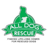 "All Dog Rescue logo with green dog and tagline ""Finding Life-long Homes for Rescued Dogs"""