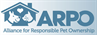 Alliance for Responsible Pet Ownership, Inc. ARPO logo with cat and dog under roof