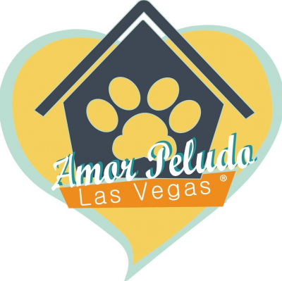 Amor Peludo (Las Vegas, Nevada) logo is blue dog house with paw print in the middle inside of yellow heart