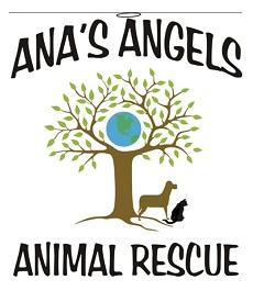 Ana's Angels logo with Earth, tree, dog and cat