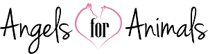 Angels for Animals Rescue (Alta Loma, California) logo a dog and cat outline in shape of a heart