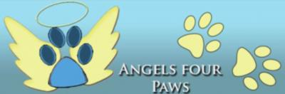 Angels Four Paws (Humble, Texas) logo with angel wings, halo and paw prints