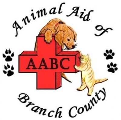 Animal Aid of Branch County (Coldwater, Michigan) logo with dog cat pawprints cross
