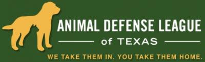 "Animal Defense League of Texas (San Antonio, Texas) logo with dog and tagline ""We take them in, you take them home"""
