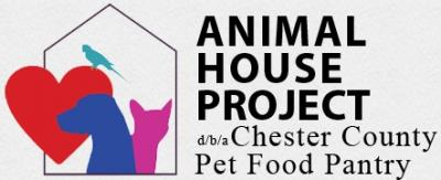 "Animal House Project (Pottstown, Pennsylvania) logo with cat, dog, bird, heart, house and ""dba Chester County Pet Food Pantry"""