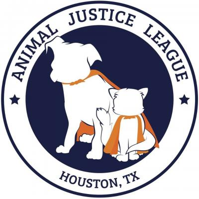 Animal Justice League (Houston, Texas) logo with dog and cat in superhero capes in circle