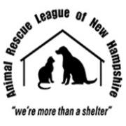 "Animal Rescue League of NH (Bedford, New Hampshire) logo with dog and cat in a home and tagline ""We're more than a shelter"""