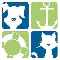 Animal Welfare League of Queen Anne's County (Queenstown, Maryland) logo with dog, anchor, life saver and cat