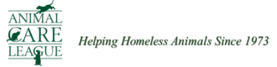 "Animal Care League logo (Oak Park, Illinois) with cat, dog and tagline ""Helping Homeless Animals Since 1973"""