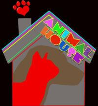Animal House Ferals (Moscow, Idaho) logo with cat, dog, house, paw print
