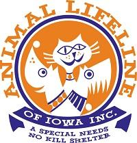 "Animal Lifeline of Iowa (Carlisle, Iowa) logo with dog, cat, and tagline ""A special needs no kill shelter"""