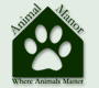 """Animal Manor (Huguenot, New York) logo with paw print, shelter, and tagline """"Where Animals Matter"""""""
