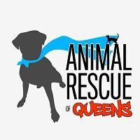Animal Rescue of Queens (Astoria, New York) logo with dog wearing a red cape