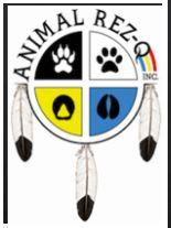 Animal Rez-Q (Window Rock, Arizona) logo of dream catcher with paw prints, feathers