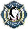 Arctic Breeds Rescue (Provo, Utah): Blue and gold logo with a siberian husky profiled in the center of logo
