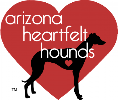 Arizona Heartfelt Hounds (Tucson, Arizona) logo with red heart background with black greyhound silhouette with heart