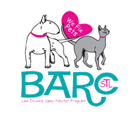 BARC (Fenton, Missouri) logo with dog and cat around a heart