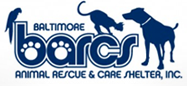 Baltimore Animal Rescue & Care Shelter (Baltimore, Maryland) logo with bird, cat, and dog and paw prints in BARCS acronym