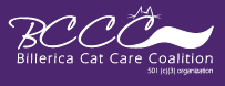 """Billerica Cat Care Coalition (BCCC) (Billerica, MA): Purple BCCC logo with cat ears and tail on the """"C""""."""