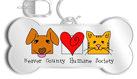 Beaver County Humane Society (Aliquippa, Pennsylvania) logo with dog, heart and cat on I.D. tag