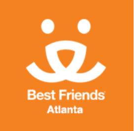 "Best Friends Atlanta Pet Adoption Center (Atlanta, Georgia) logo with orange dog face with Best Friends ""Save Them All"" tagline"