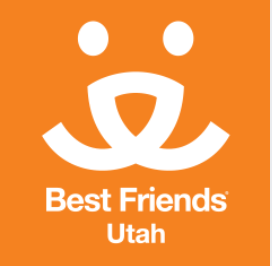Best Friends Utah (Salt Lake City, Utah) logo with an orange dog face with Best Friends Save Them All tagline