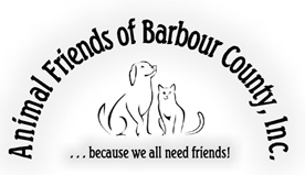 """Animal Friends of Barbour County (Philippi, West Virginia) logo with cat, dog and tagline """"Because we all need friends"""""""