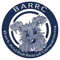 Bark and Roll Rescue Companions (Baton Rouge, Louisiana) circle logo with dog in the middle and BARRC acronym