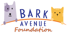Bark Avenue Foundation (Studio City, California) logo with dog and cat balanced on each side