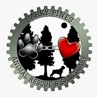 Barky Pines Animal Rescue & Sanctuary Inc. (Loxahatchee, Florida) logo is a gear with dog, trees, heart and pawprint inside