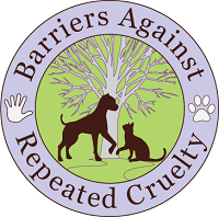 Barriers Against Repeated Cruelty (Chicago, Illinois) logo of dog, cat, tree, hand, paw