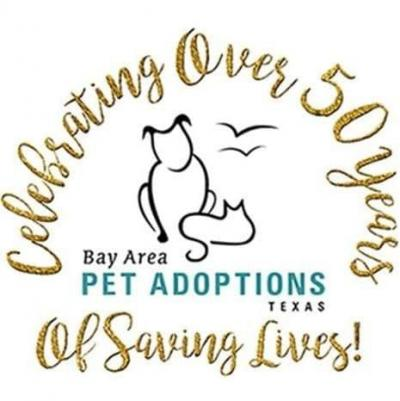 Bay Area Pet Adoptions/SPCA (San Leon, Texas) logo with dog and cat celebrating over 50 years of saving lives