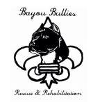 Bayou Bullies Rescue & Rehabilitation (Lake Charles, Louisiana) logo with black pit bull and flor de lis