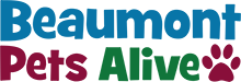 Beaumont Pets Alive (Beaumont, Texas) logo in red, green, and blue with red paw print